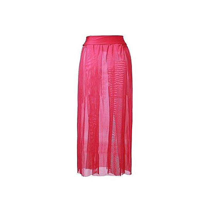 7ed0dc4196439 Sexy Women Beach Dress Bikini Cover Up Chiffon Swimwear Long Sarong Wrap  Pareo Rose Red