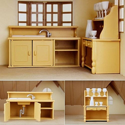Universal Cabinets Plastic Kitchen Miniature Dollhouse Furniture