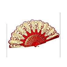 Chinese Silk Folding Fan -Red