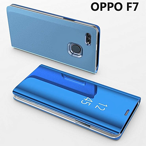 Generic Luxury Mirror Clear View Smart Flip Case For OPPO F7 Leather Cover Case Housing