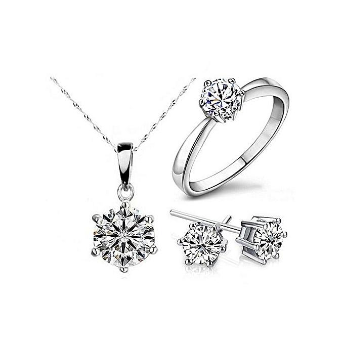 Women Diamond Wedding Ring Earrings Necklace Set Silver