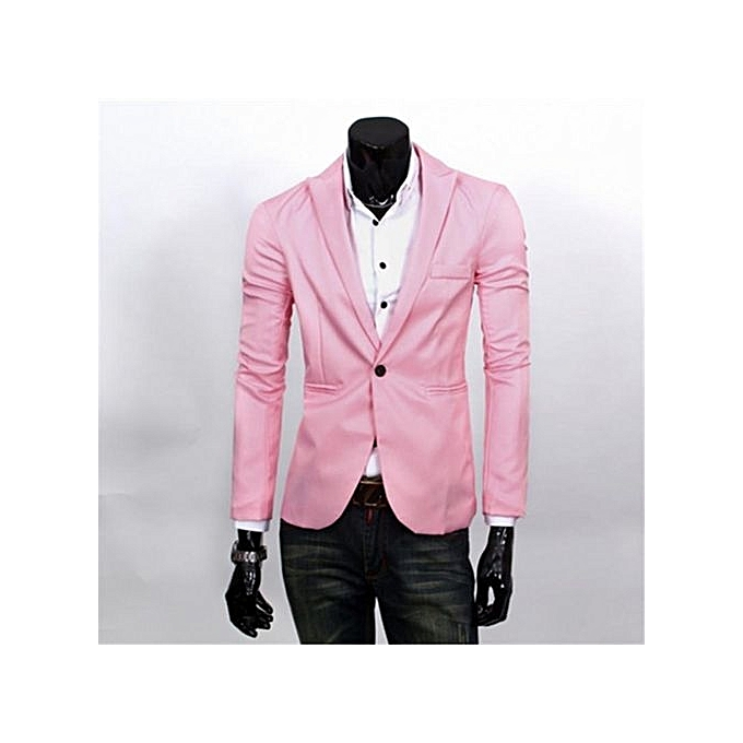 2759d87825 Pink Men Blazer New Arrival Single Button Trendy Mens Blazers Slim Fit  Linen Suits Korean Fashion