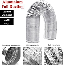 125mm Aluminum Foil Flexible Ducting 5/10M Foil Air Ventilation Duct Hydroponic (10M)
