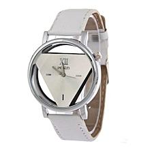 Fashion Watch Luxury Hollow Triangle Dress Watch Women Elegant Quartz Watch Lady Refinement Wristwatch(White)