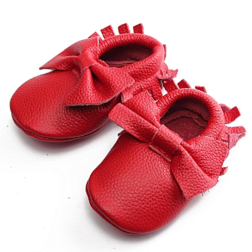 b9b3d949219 Fashion NEW Tassel Baby Soft Sole TRUE LEATHER Shoes Boy Girl Infant  Toddler Moccasins RED 0-6M