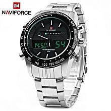 NAVIFORCE NF9024 Luxury Dual Movt Men Quartz Watch Analog Digital LED Sport Wristwatch