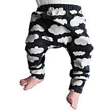 Autumn Clouds Printing Pants Baby Kids Lovely Stretch Trousers Elastic Boys Girls Cotton 0-2 years