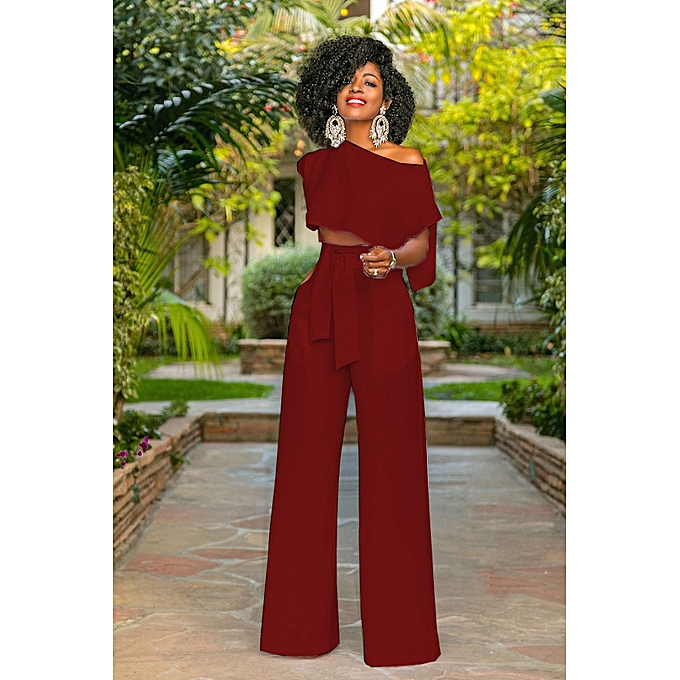 e03e8ea1316 Womens Tracksuit Sets Off Shoulder 2 Piece Short Sleeve Jogger Plus Size  Summer Sweatpants-wine red