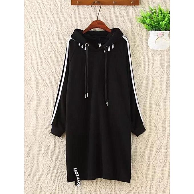 ce4ef8d00ef Buy Fashion Plus Size Women Long Hoodie Plus Cashmere Thick Plain ...
