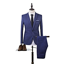 Sanwood Men Slim Fit Business Leisure One Button Formal Two-Piece Suit For Groom Wedding -Blue