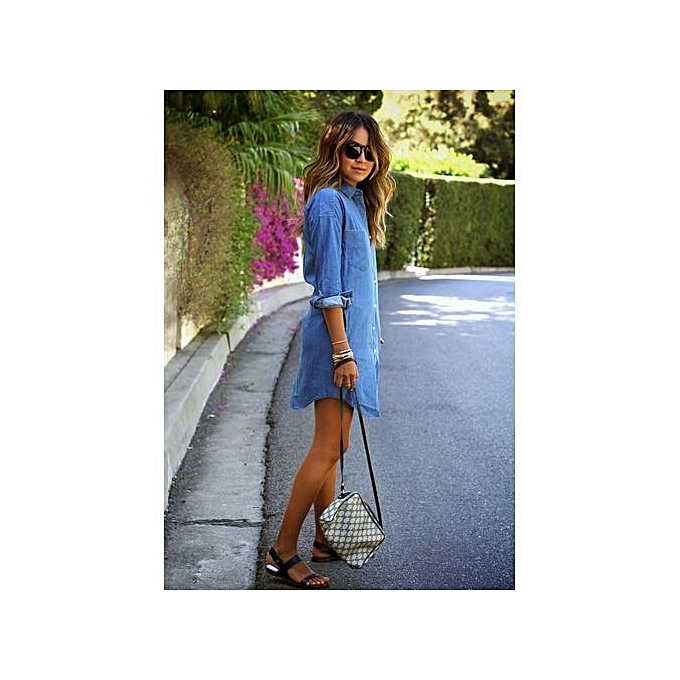 754b8e6f9f Causal Women Denim Shirt Dress Summer Irregular Shirt Dress Long Sleeve  Sexy Mini Dress Casual Loose