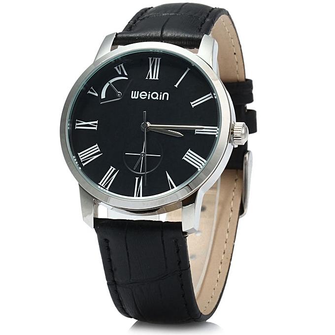 c66785186 W23056 Quartz Men Watch Leather Strap 5ATM Water Resistant-BLACK BLACK