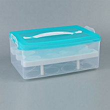 24 Grid Bilayer Eggs Organizer Refrigerator Egg Storing Blue