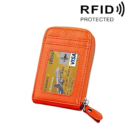 Genuine Cowhide Leather Solid Color Zipper Vertical Card Holder Wallet Rfid Blocking Card Bag Protect Case With 12 Card Slots Size