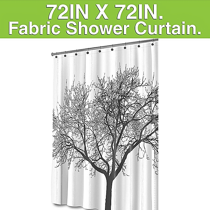 Mildew Resistant Shower Curtain Fabric 72x72 Tree Design Peva For Bathro White