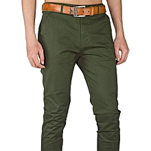 Soft Khaki Men's Trouser Stretch Slim Fit Casual-Green