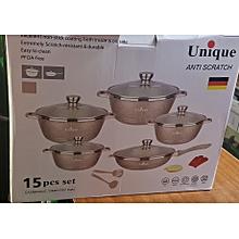Unique 15 pieces non-stick cooking set ( ANTI SCRATCH)