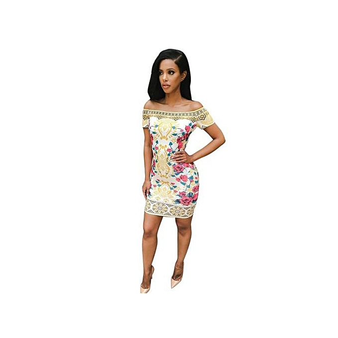 4073896540e RanickenWomen Traditional African Print Dashiki Bodycon Sexy Short Sleeve  Dress -Multicolor