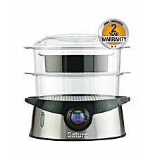 ST-EC0104 D - Food Steamer - Black & Silver.
