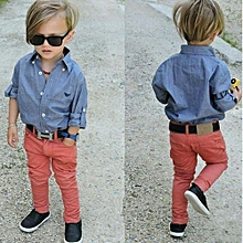 Comfortable   Children's Wear European And American Style Handsome Boy Soft Cowboy Shirt And Jeans Suit