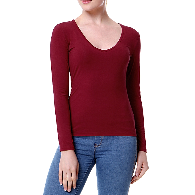 1086a8e4a4 New Sexy Women Plunge V Neck T-Shirt Long Sleeves Solid Color Pullover Top