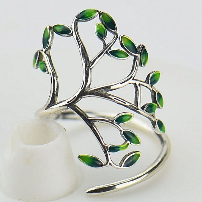 6f403432185 Vintage 925 Silver Ring Women Green Leaves Tree of Life ring