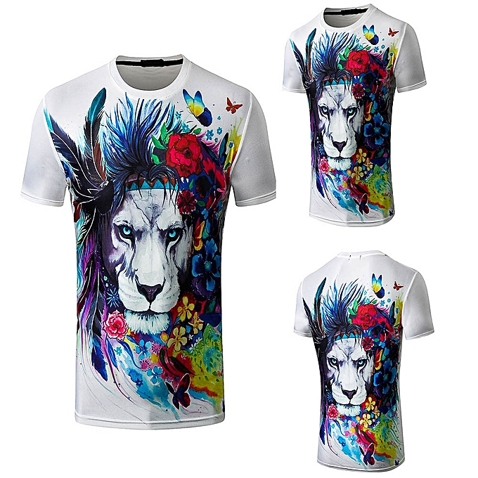 09ef1a9a6fa9 Generic 3D Animal Retro Flower Men Digital Printing T-Shirt Blouse ...