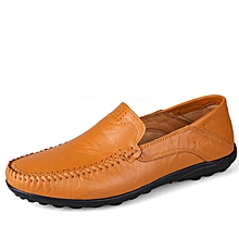 Men Formal Genuine Leather Casual shoes Loafers Yellow Brown