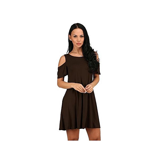 4b988996c2b8 RanickenWomen Summer Cotton Loose Solid Off-Shoulder Casual Sundress Mini  Dress BW M -