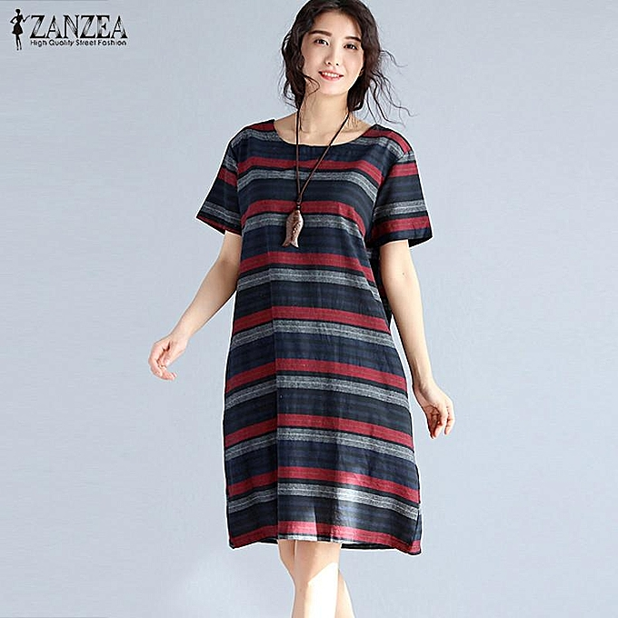 27d05c0fa61d ZANZEA Womens Summer Retro Striped Casual Loose Knee-Length Dresses Cotton  Linen Crew Neck Short