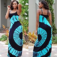 Latest Ankara Styles Party Dress Sleeveless Dinner Dress-Blue