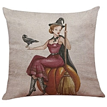 Happy Halloween Linen Throw Pillow Case Cushion Cover Home Sofa Decor New L
