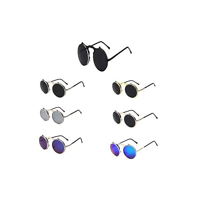 f98803af9f ... Retro Men Women Flip Up Steampunk Goggles Sunglasses Metal Round Eyewear  Lens Black+Gray ...