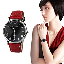 bluerdream-Leather Quartz Analog Wrist Watch Women Black Red