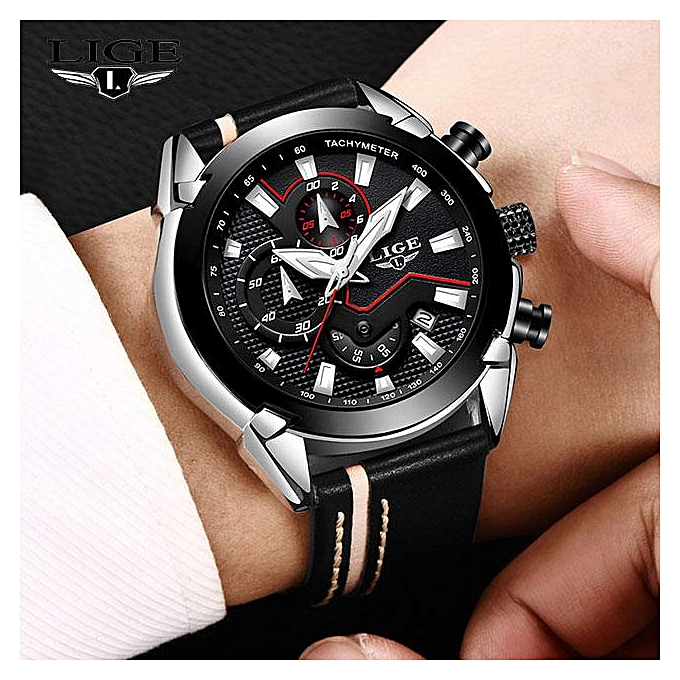 a6d215cac2f LIGE Mens Watches Top Brand Luxury Quartz Gold Watch Men Casual Leather  Military Waterproof Sport Wrist