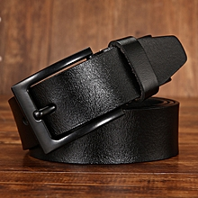 Leather belt wild leather pin buckle belt gold world pin buckle leather belt men-115CM-black