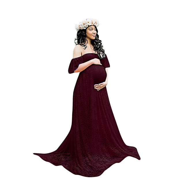 4c426a8691200 Pregnant Women Off Shoulder Lace Long Maxi Dress Gown Maternity Photography  Prop