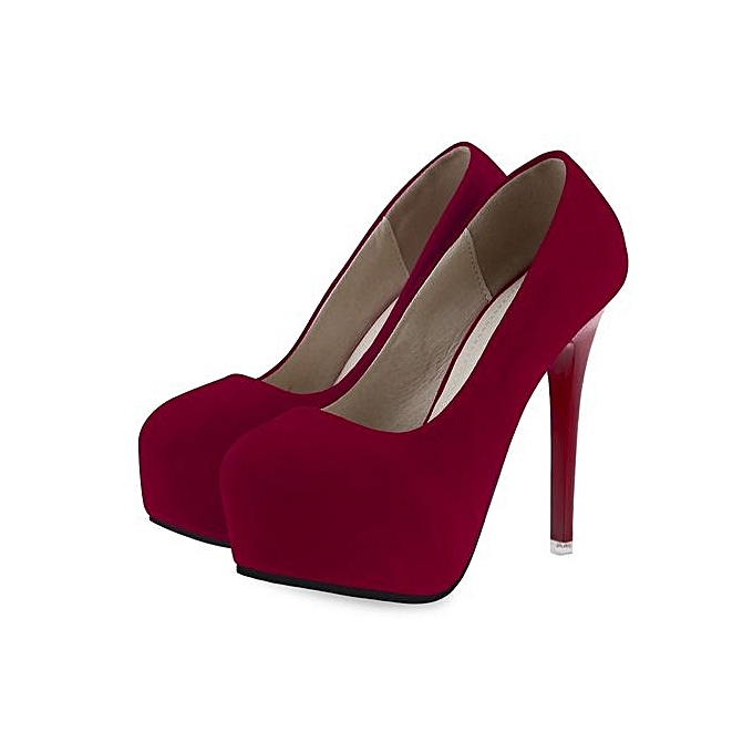 4fe9ebeeec8 Sexy Solid Color Ladies Thin High Heel Shoes-RED