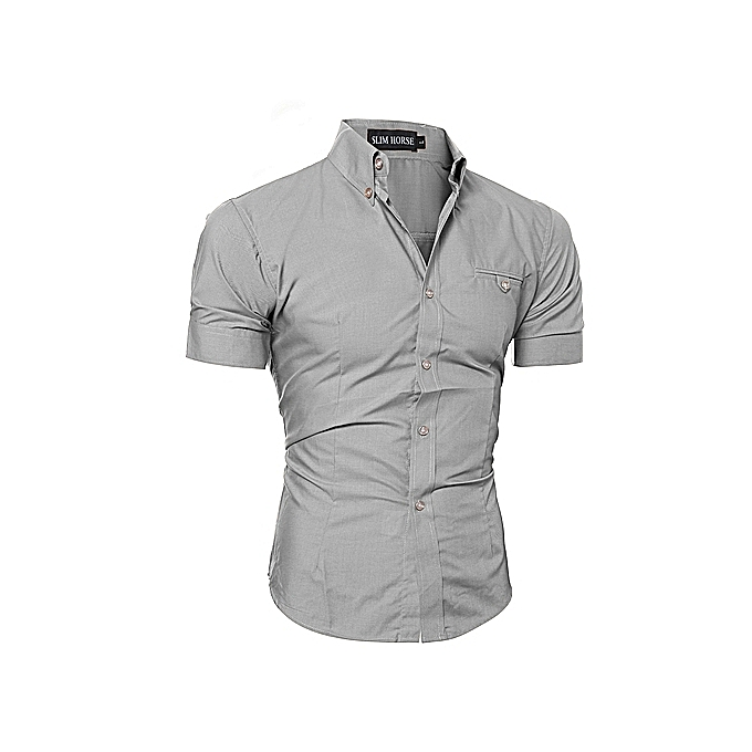 Men's Shirt Short Sleeve Bussiness Lapel Button Down Top Blouse Casual Solid-Grey