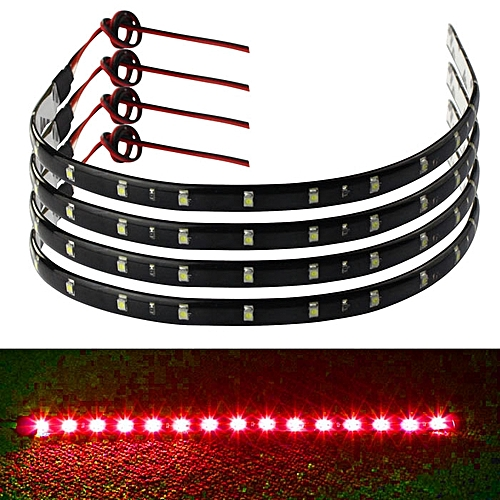 Generic jiuhap store 4 x 30cm 15 LED Car Trucks Grill Flexible Waterproof Light Strips Red-As shown