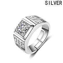 925 Silver Men's Big Diamond Ring Crystal Zircon Open Ring Wedding Ring Jewelry