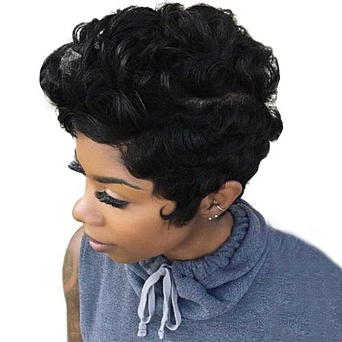 Buy Popfeel Women Short Black Front Curly Hairstyle Synthetic Hair