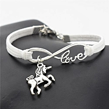 Infinity Love Suede Braclet With Unicorn Pendant - White