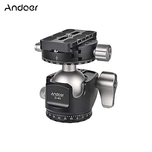 Andoer D-40 Professional Double Panoramic Head CNC Machining Aluminum Alloy  Ball Head Double U Notch Design Low Center of Gravity for Tripod Monopod