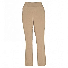 Khaki Straight Leg Pull On Classic Pants
