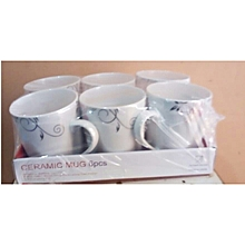 Ceramic 6 Piece Mug Set - White with Pink Circles .