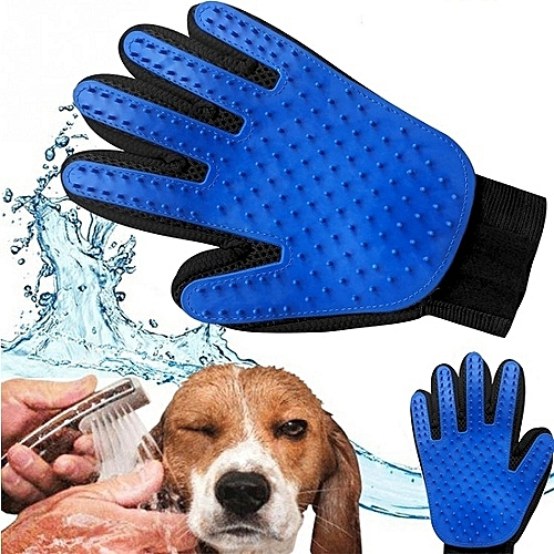 Pet Grooming,Hair Removal & Massaging Glove - Blue & Black