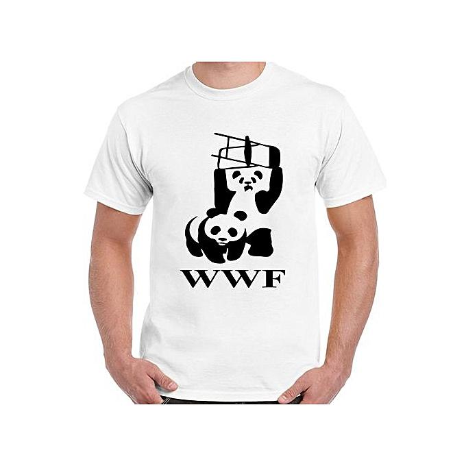 b18786b1ba9068 WWF Panda - Mens Funny T-Shirt Wrestling WTF Men Short Sleeve T-shirt