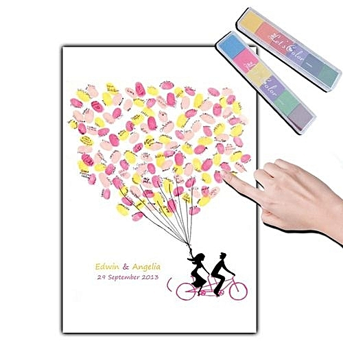 Fingerprint Signature Guest Book Wedding Tree Canvas Painting Diy Baby Shower Party Supplies