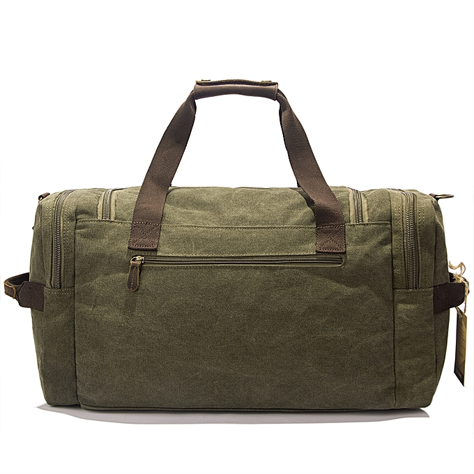 97914ac7655 BlueLife Multi-pockets Canvas Leather Holdall Bags for Travel - Army ...